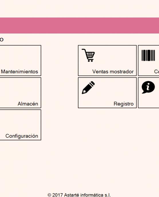 menu principal aplicacion de comercios