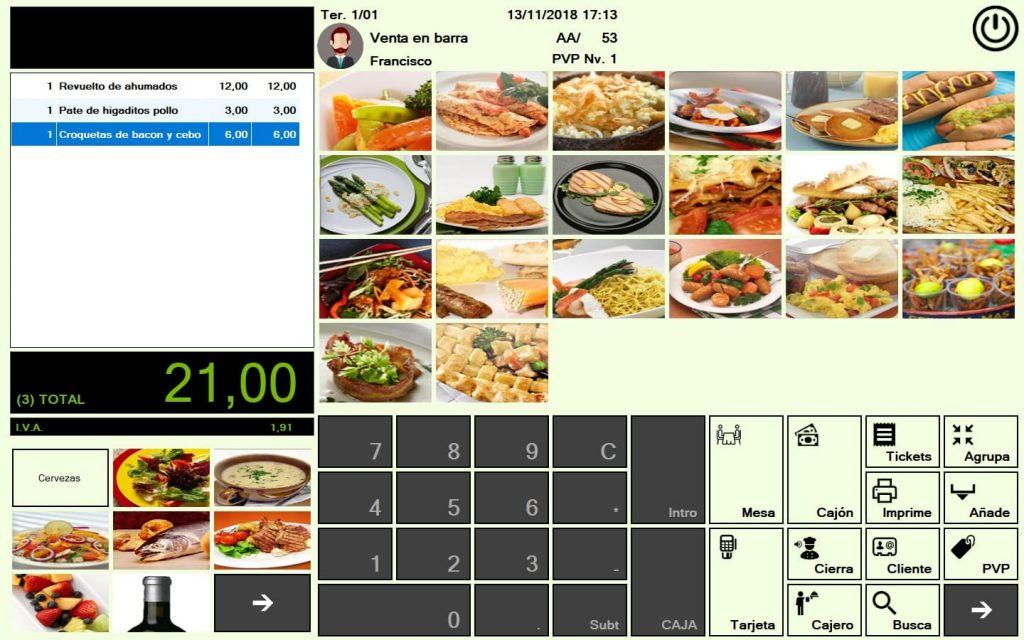 software TPV bares pantalla de ventas